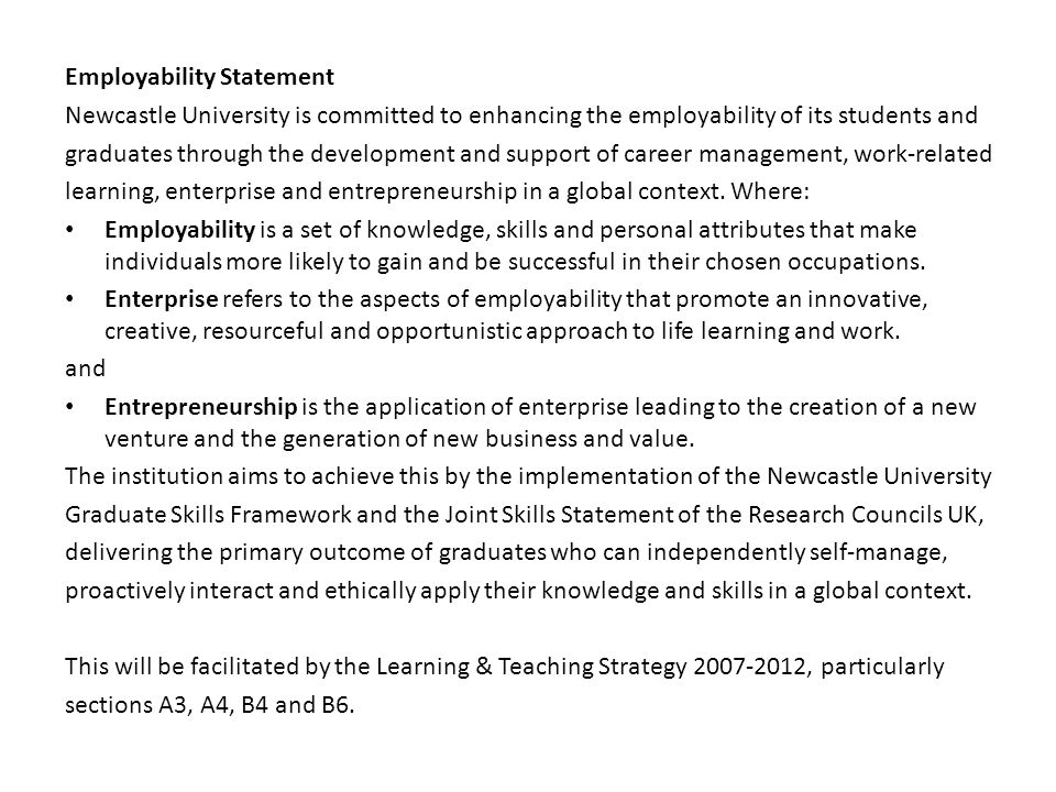 Employability Statement