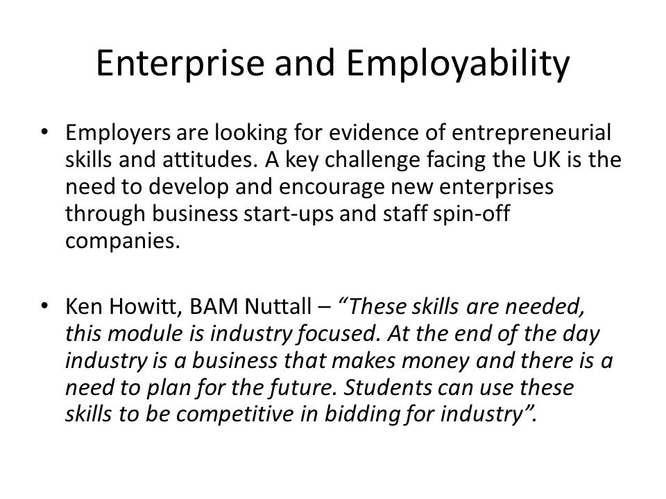 Enterprise and Employability