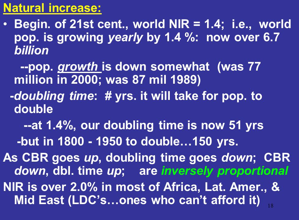Natural increase: Begin. of 21st cent., world NIR = 1.4; i.e., world pop. is growing yearly by 1.4 %: now over 6.7 billion.