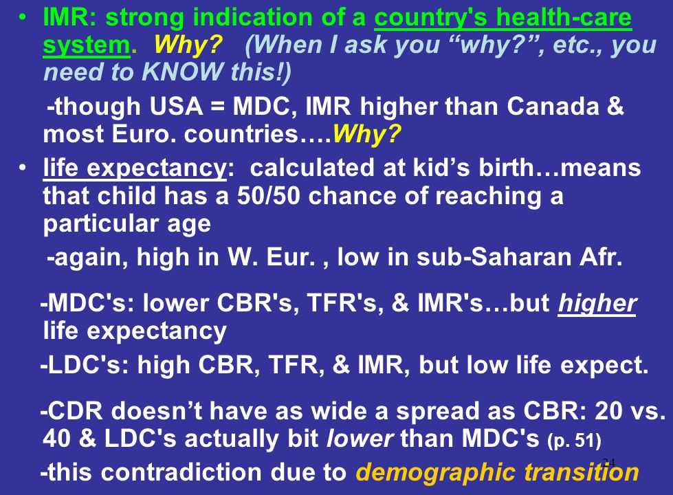 IMR: strong indication of a country s health-care system. Why