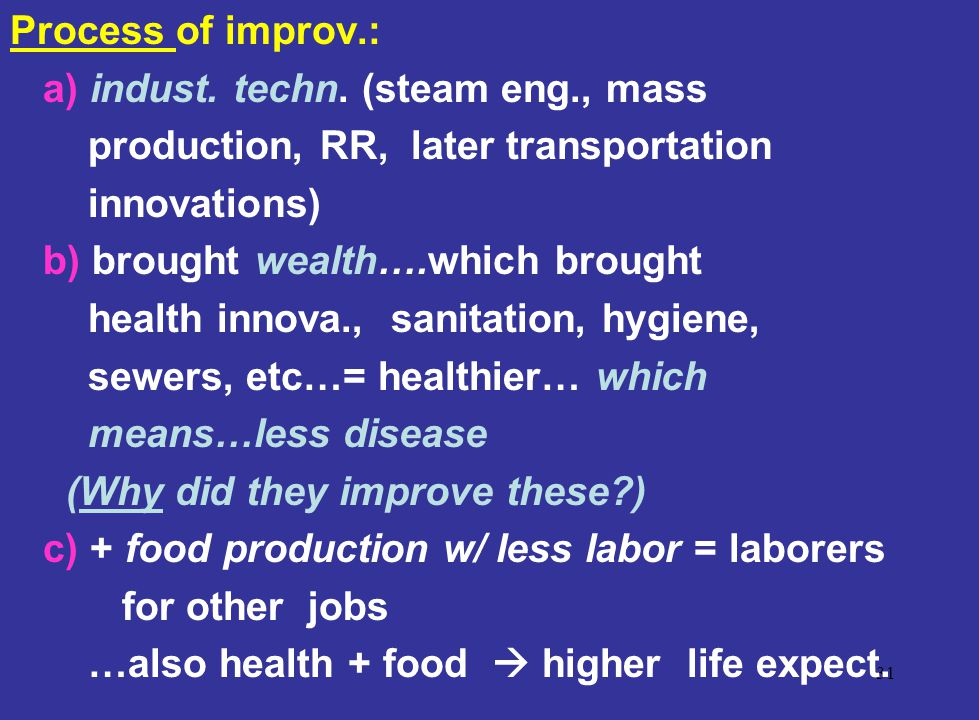 Process of improv.: a) indust. techn. (steam eng., mass. production, RR, later transportation. innovations)