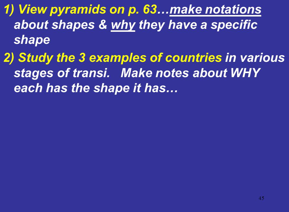 1) View pyramids on p. 63…make notations about shapes & why they have a specific shape