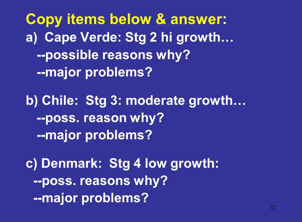Copy items below & answer: