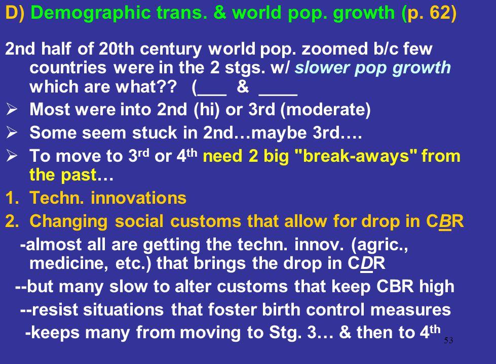 D) Demographic trans. & world pop. growth (p. 62)