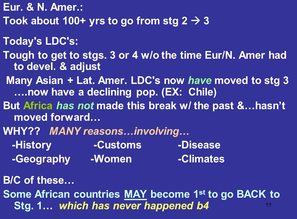 Eur. & N. Amer.: Took about 100+ yrs to go from stg 2  3. Today s LDC s: