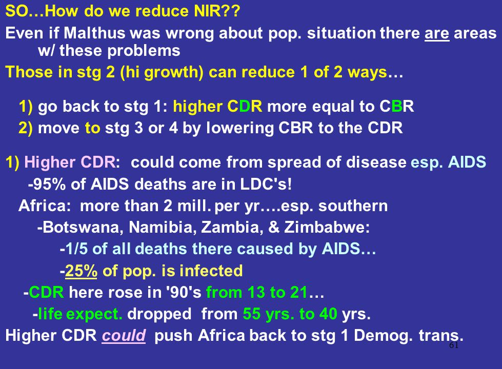 SO…How do we reduce NIR Even if Malthus was wrong about pop. situation there are areas w/ these problems.
