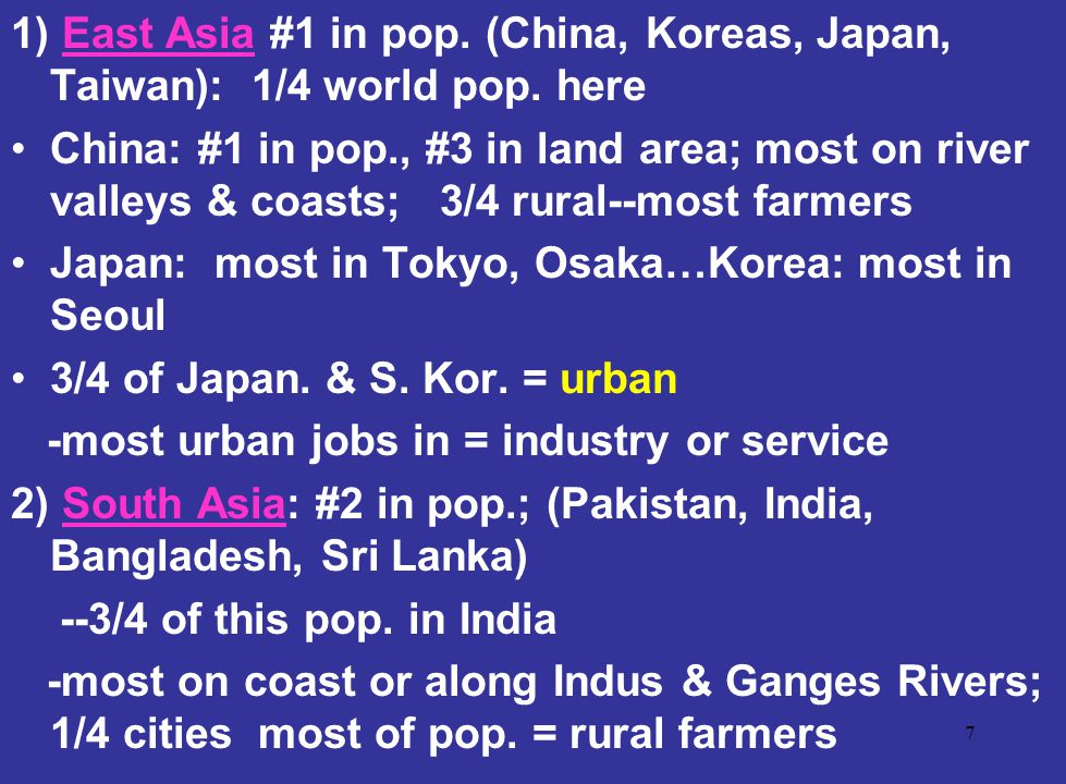 1) East Asia #1 in pop. (China, Koreas, Japan, Taiwan): 1/4 world pop