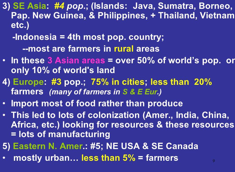 3) SE Asia: #4 pop. ; (Islands: Java, Sumatra, Borneo, Pap