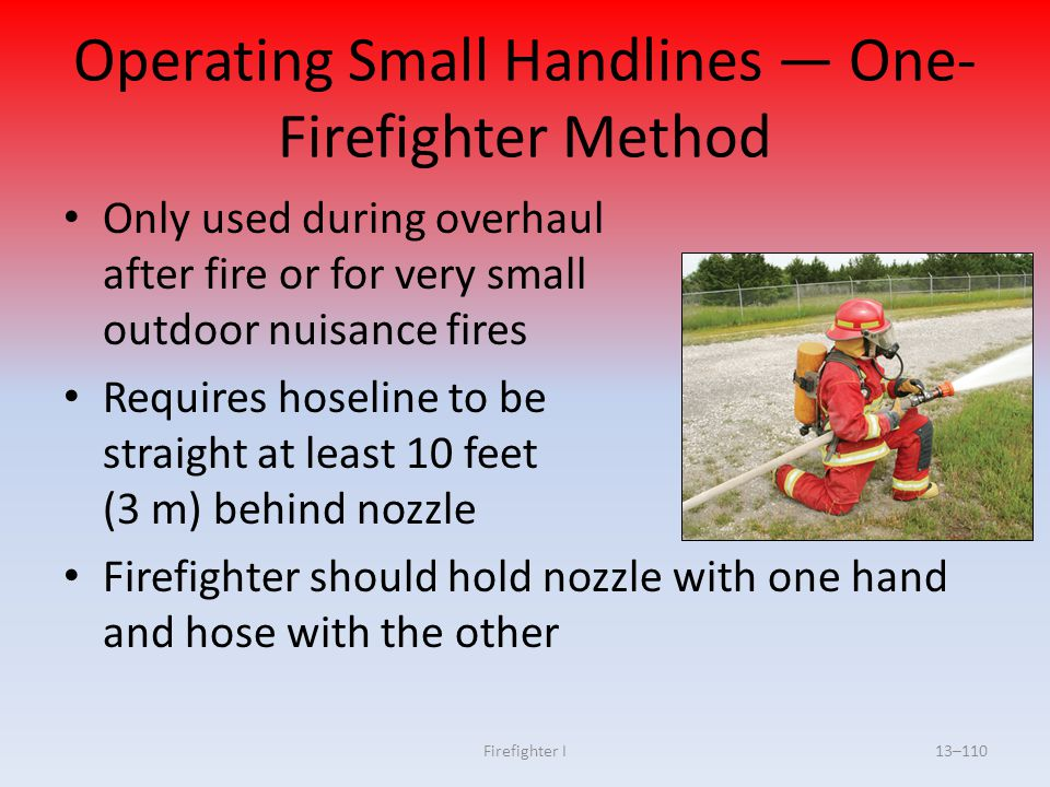 Operating Small Handlines — One-Firefighter Method