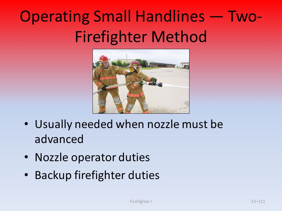 Operating Small Handlines — Two-Firefighter Method