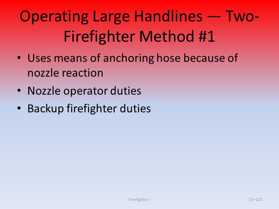 Operating Large Handlines — Two-Firefighter Method #1