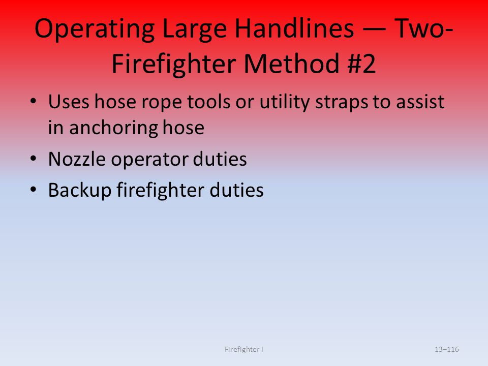 Operating Large Handlines — Two-Firefighter Method #2