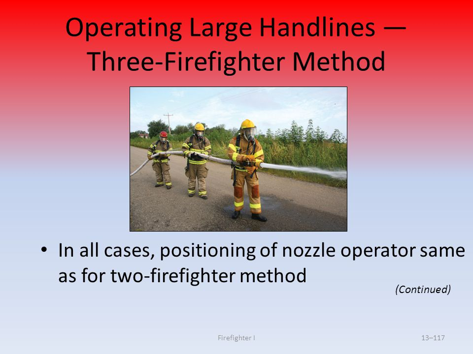 Operating Large Handlines — Three-Firefighter Method