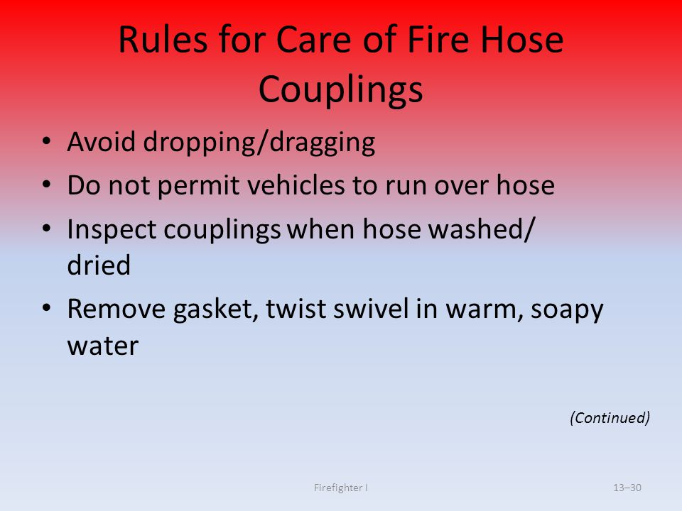 Rules for Care of Fire Hose Couplings