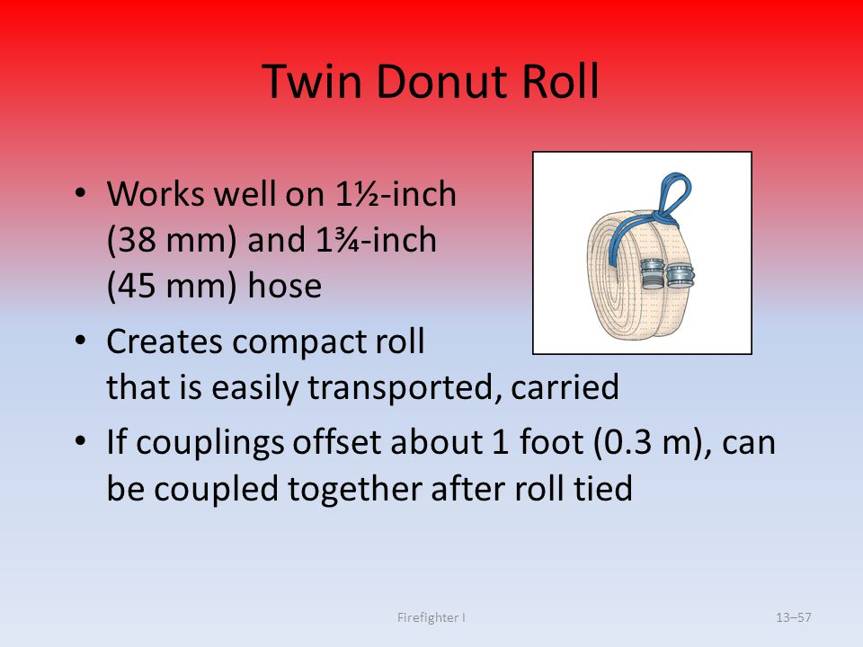 Twin Donut Roll Works well on 1½-inch (38 mm) and 1¾-inch (45 mm) hose