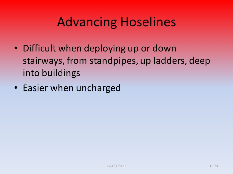 Advancing Hoselines Difficult when deploying up or down stairways, from standpipes, up ladders, deep into buildings.