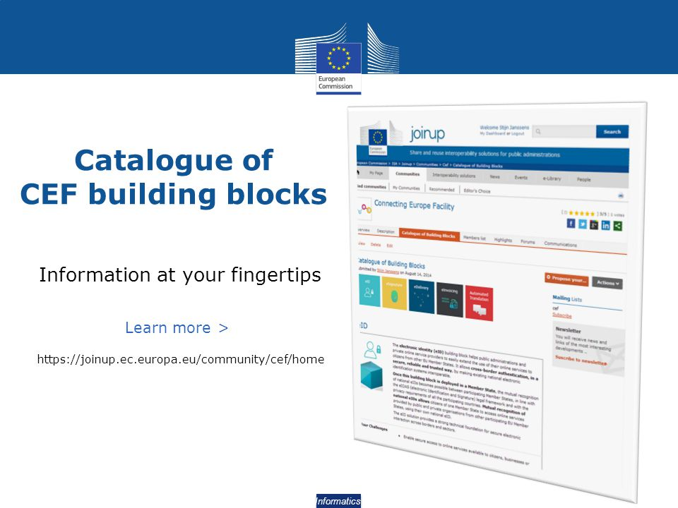 Catalogue of CEF building blocks