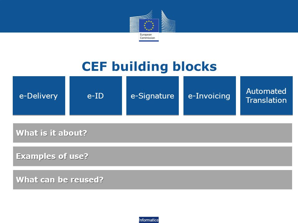 CEF building blocks e-Delivery e-ID e-Signature e-Invoicing Automated