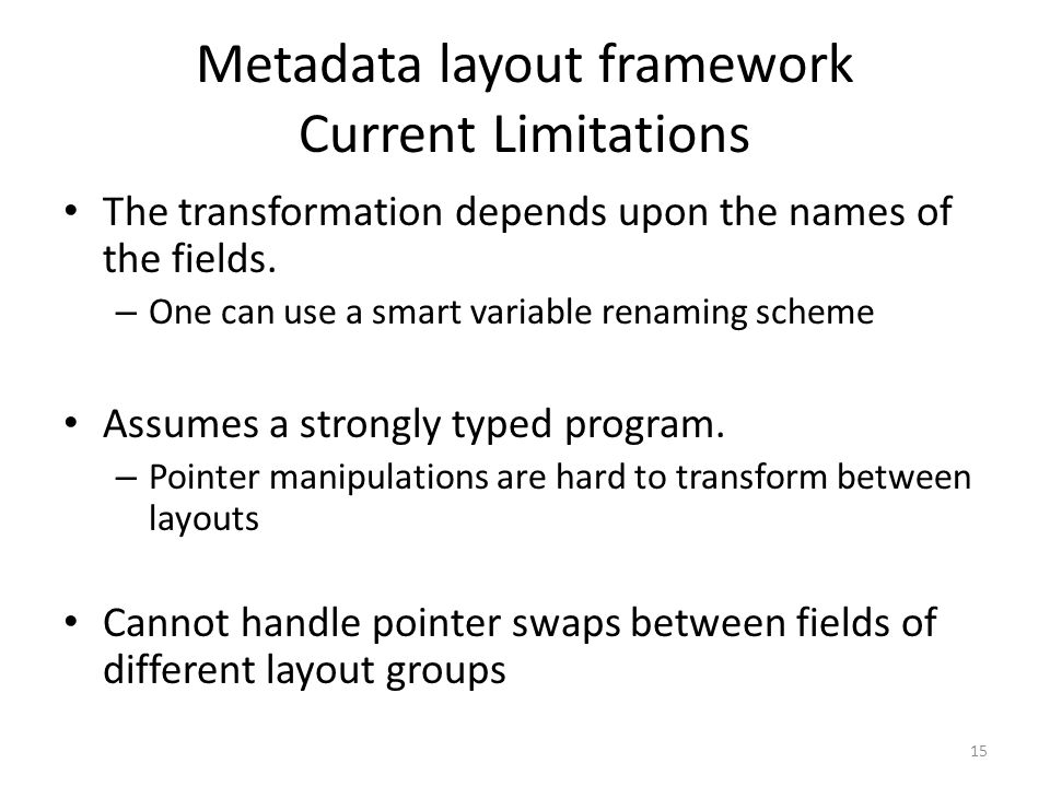 Metadata layout framework Current Limitations
