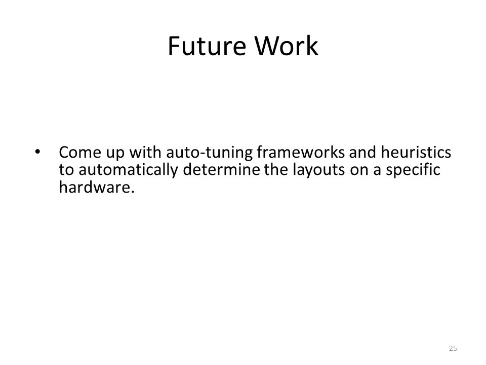 Future Work Come up with auto-tuning frameworks and heuristics to automatically determine the layouts on a specific hardware.