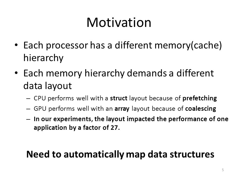 Motivation Each processor has a different memory(cache) hierarchy