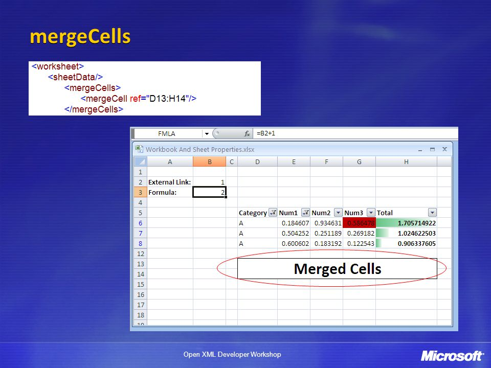 mergeCells Store cell data (value, formatting, formula, etc) in top left cell