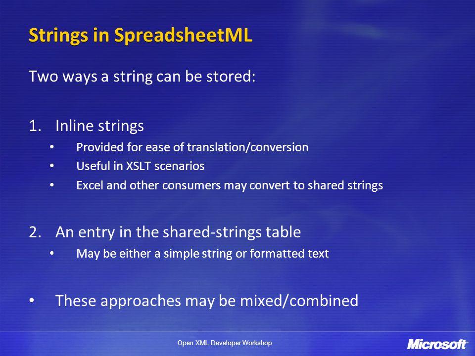 Strings in SpreadsheetML