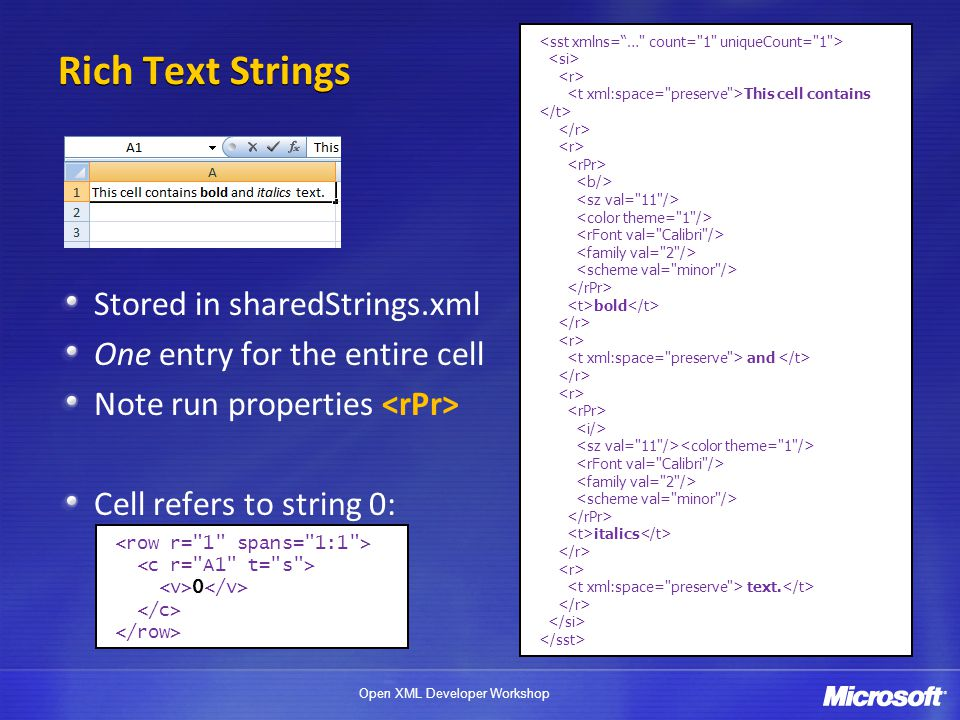Rich Text Strings Stored in sharedStrings.xml