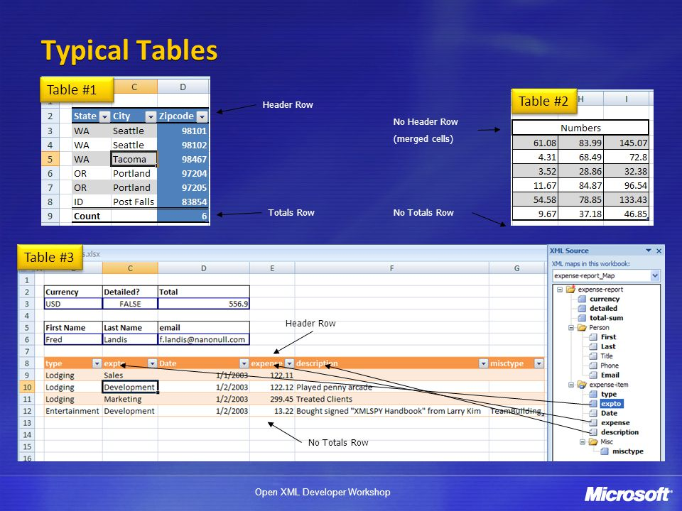 Typical Tables Table #1 Table #2 Table #3 Header Row No Header Row