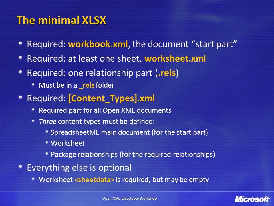 The minimal XLSX Required: workbook.xml, the document start part