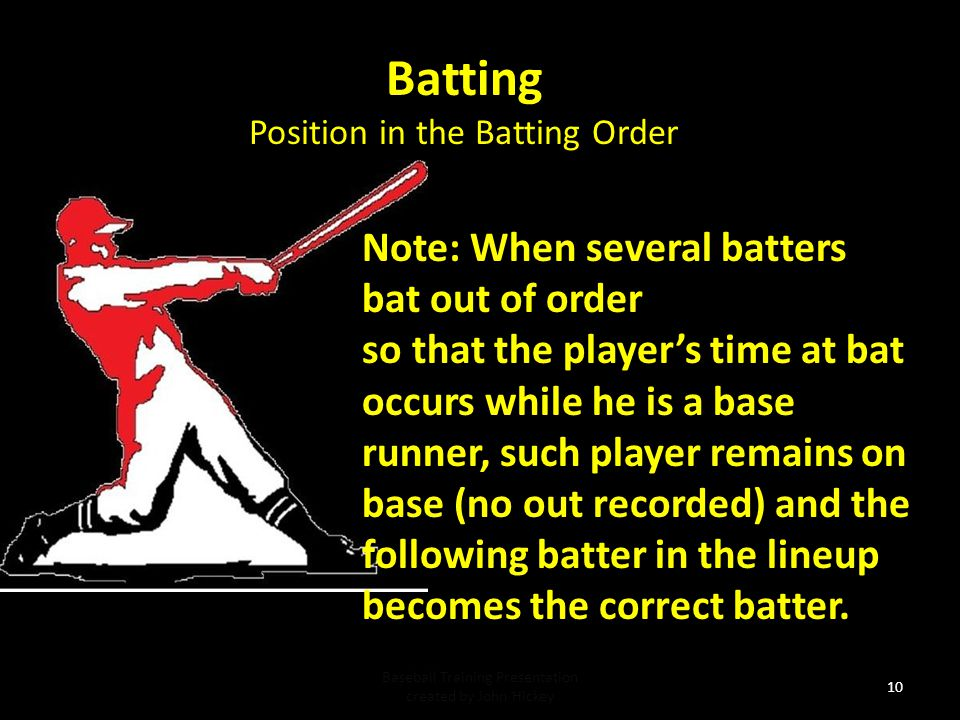 Batting Note: When several batters bat out of order