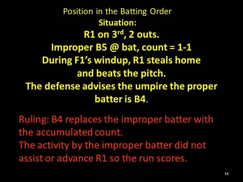 Improper B5 @ bat, count = 1-1 During F1's windup, R1 steals home