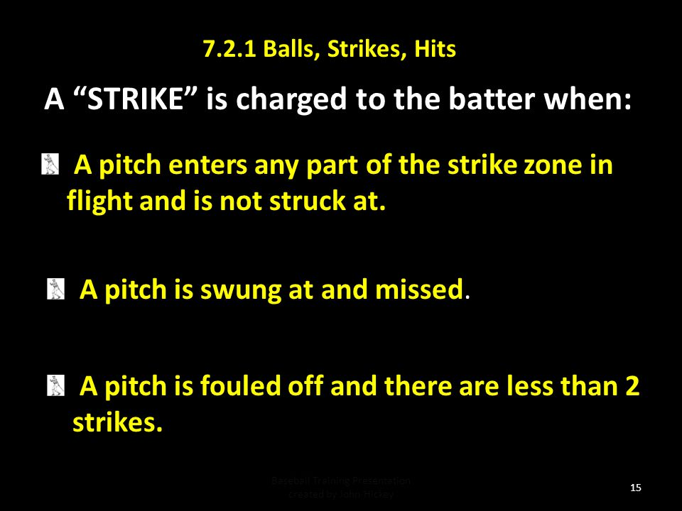 A STRIKE is charged to the batter when: