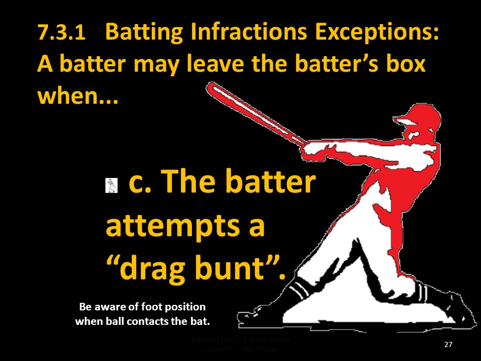 Be aware of foot position when ball contacts the bat.