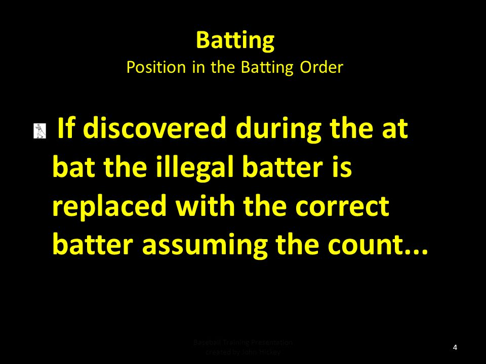 Batting Position in the Batting Order. If discovered during the at bat the illegal batter is replaced with the correct batter assuming the count...