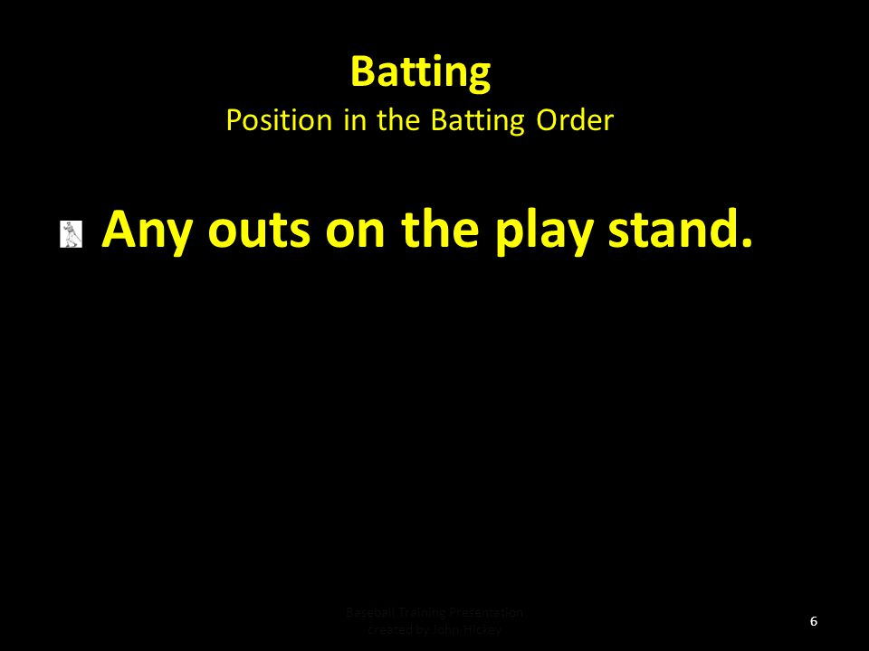 Batting Any outs on the play stand. Position in the Batting Order