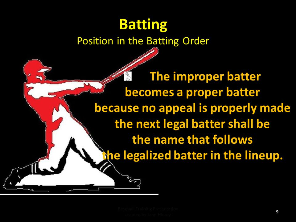 Batting The improper batter becomes a proper batter