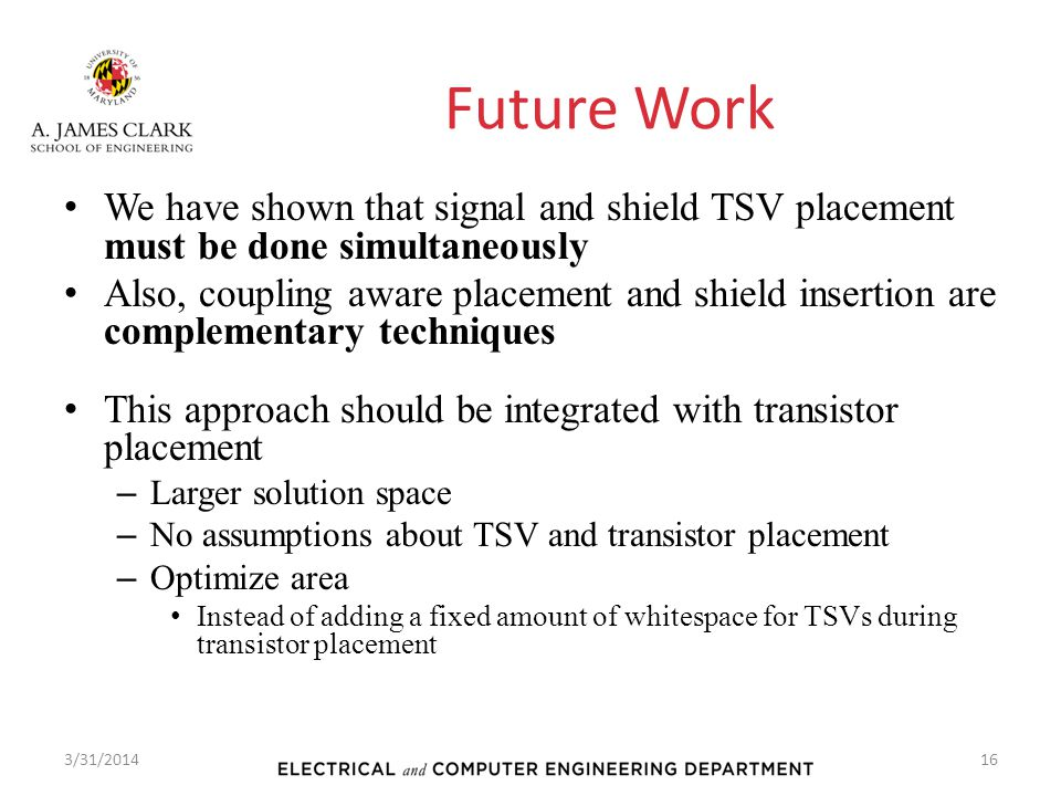 Future Work We have shown that signal and shield TSV placement must be done simultaneously.