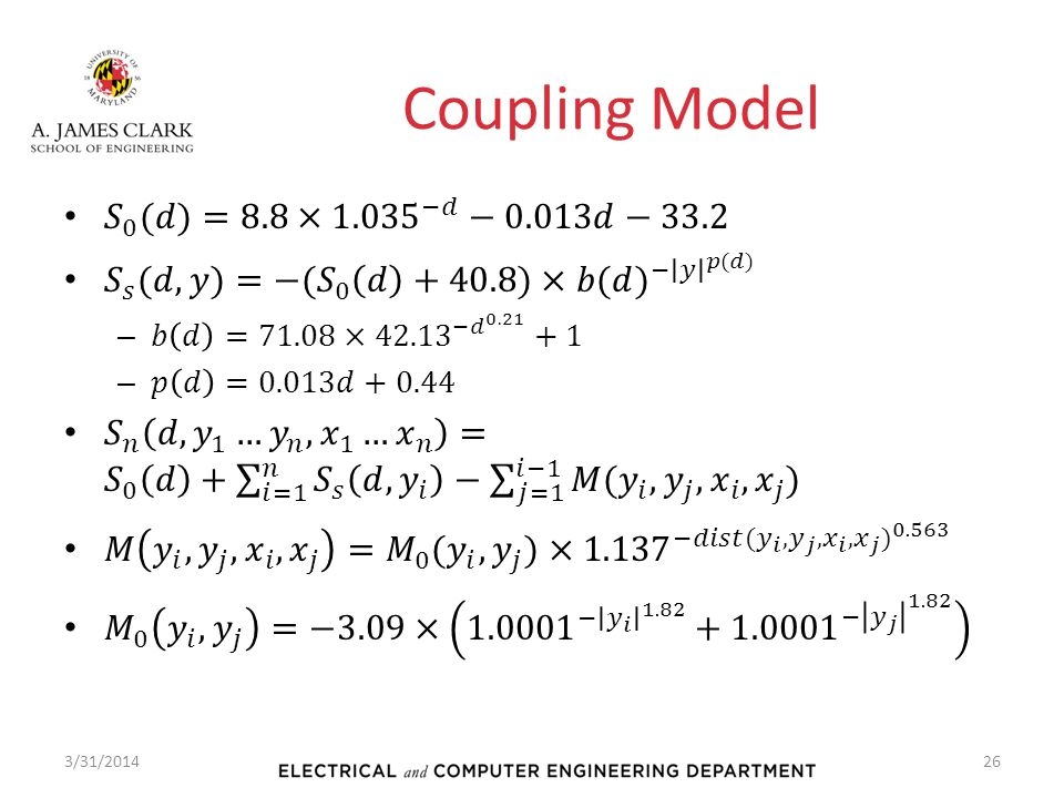 Coupling Model 𝑆 0 (𝑑)=8.8× 1.035 −𝑑 −0.013𝑑−33.2