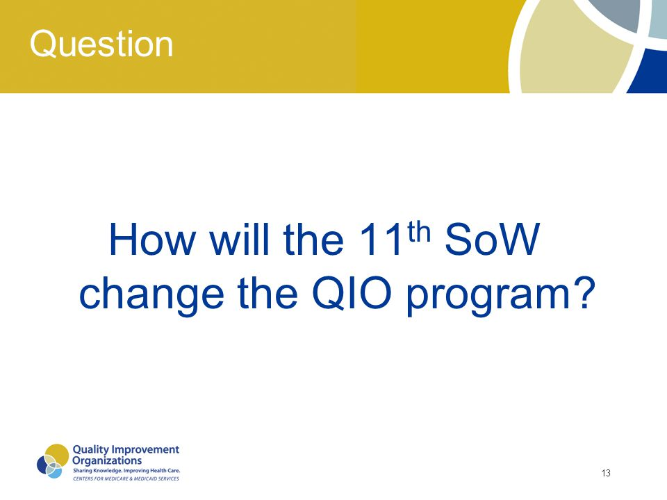 How will the 11th SoW change the QIO program