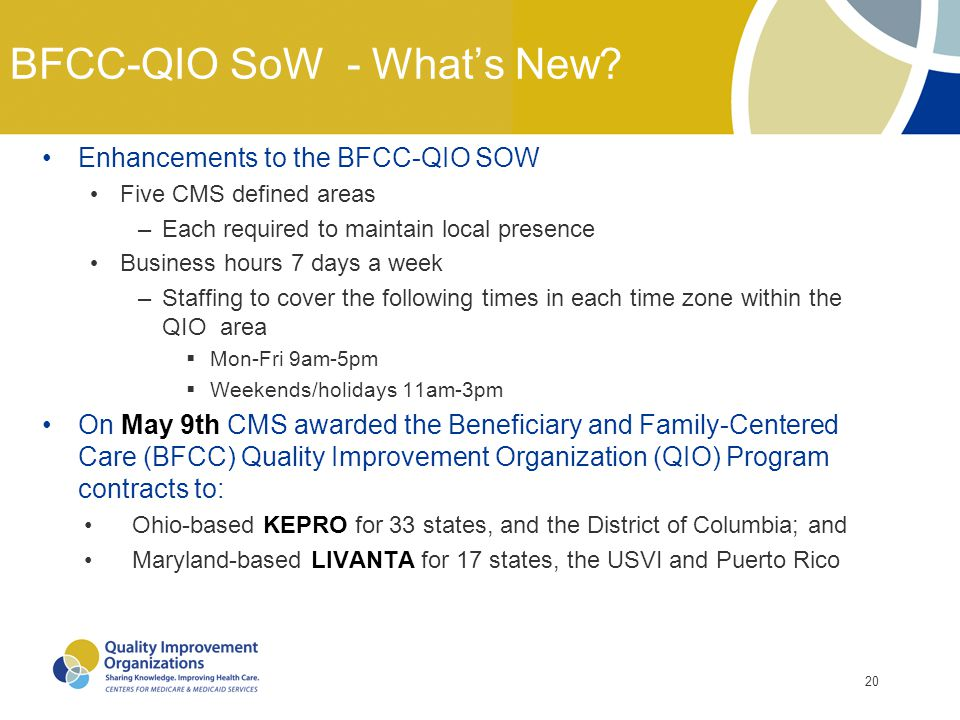 BFCC-QIO SoW - What's New
