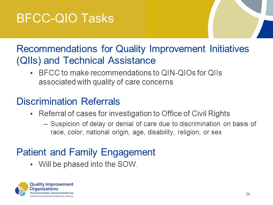 BFCC-QIO Tasks Recommendations for Quality Improvement Initiatives (QIIs) and Technical Assistance.
