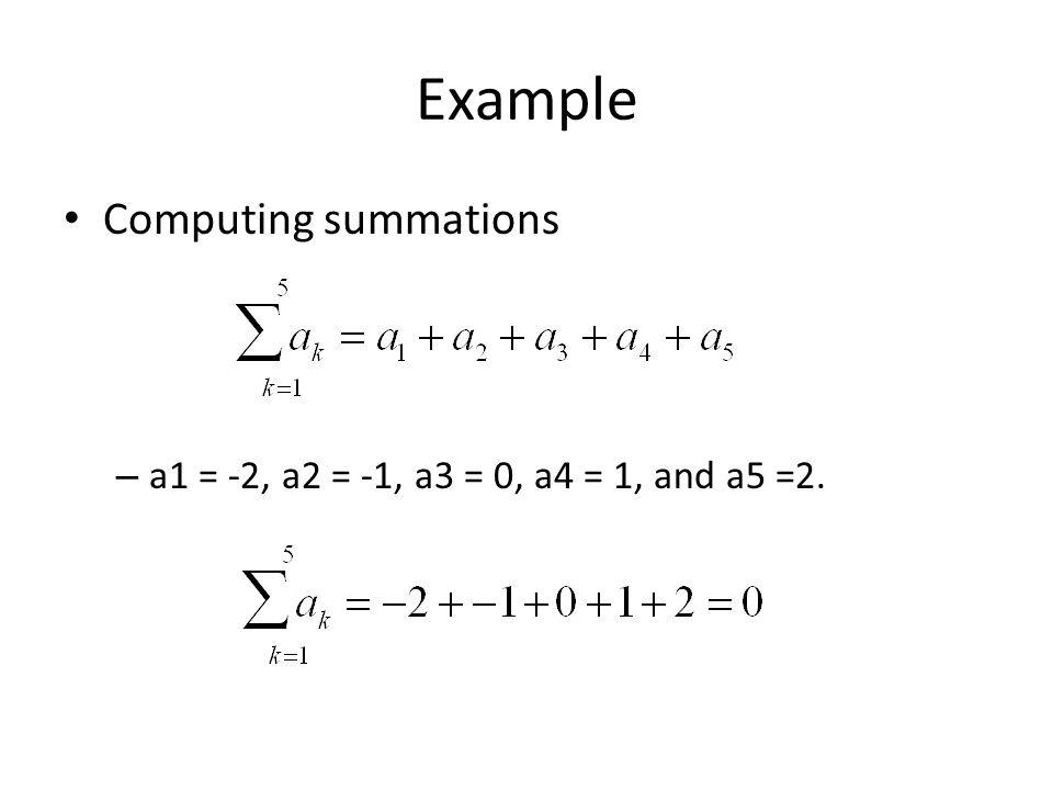 Example Computing summations