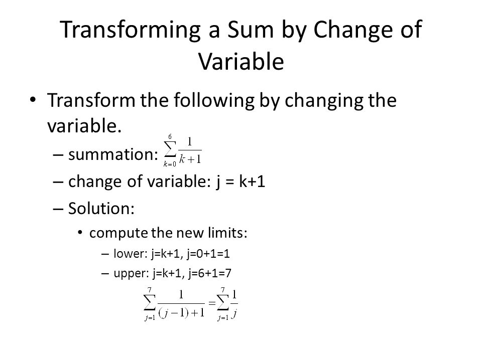 Transforming a Sum by Change of Variable