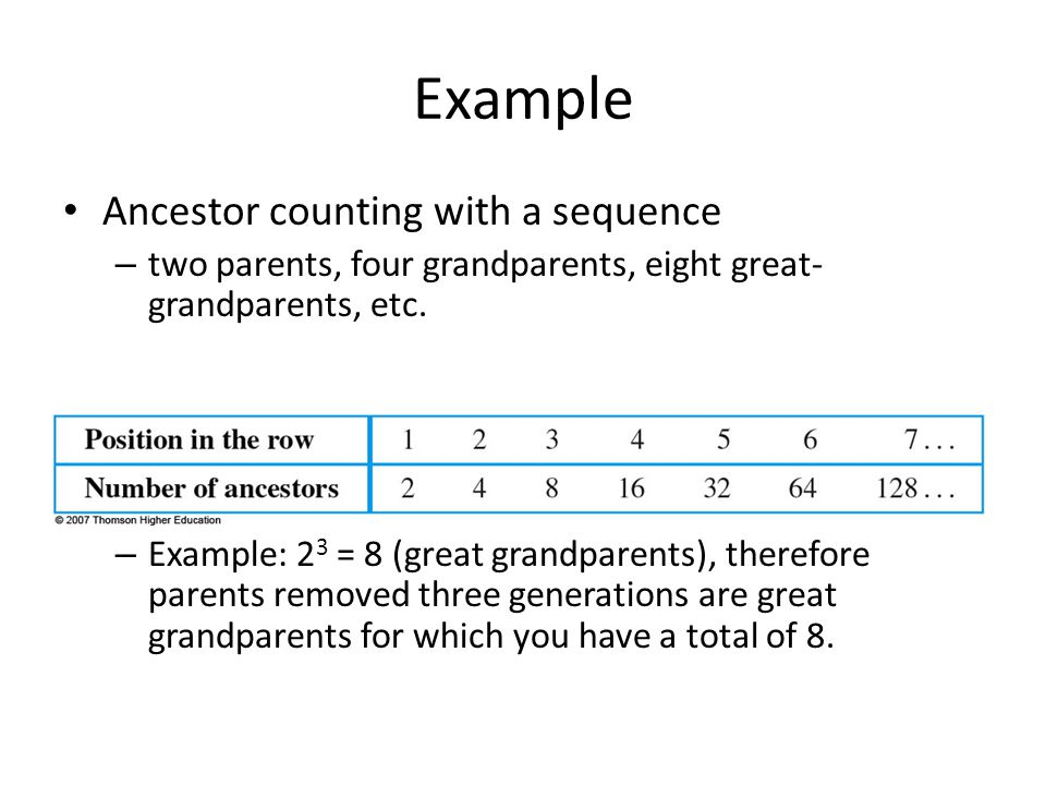 Example Ancestor counting with a sequence
