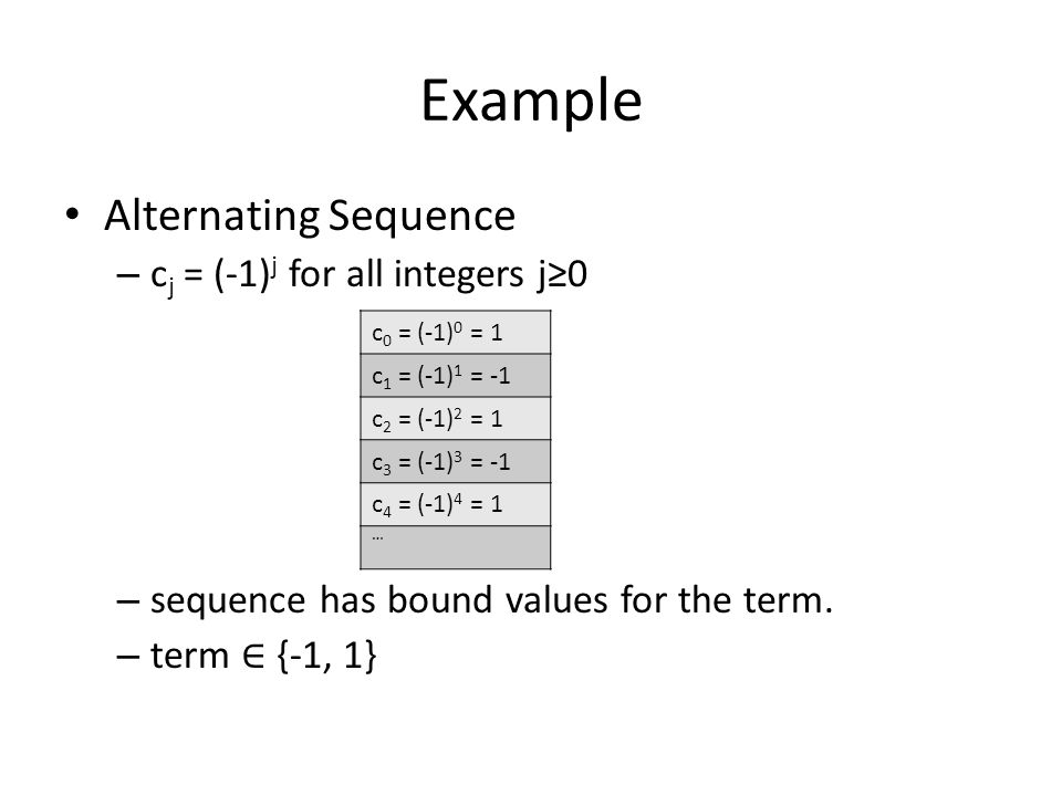 Example Alternating Sequence cj = (-1)j for all integers j≥0