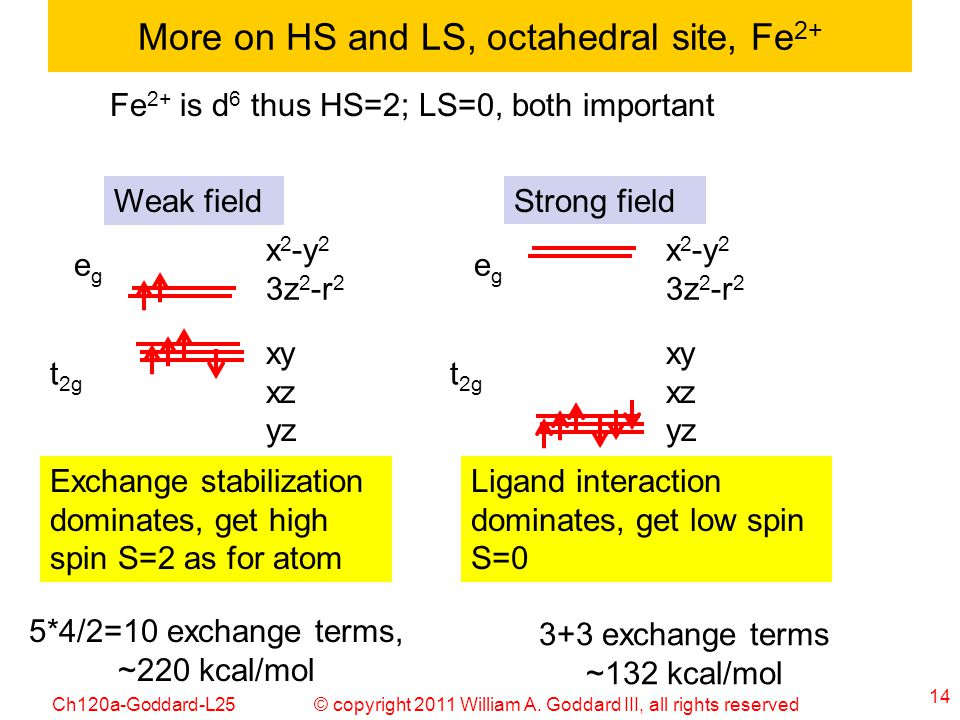 More on HS and LS, octahedral site, Fe2+