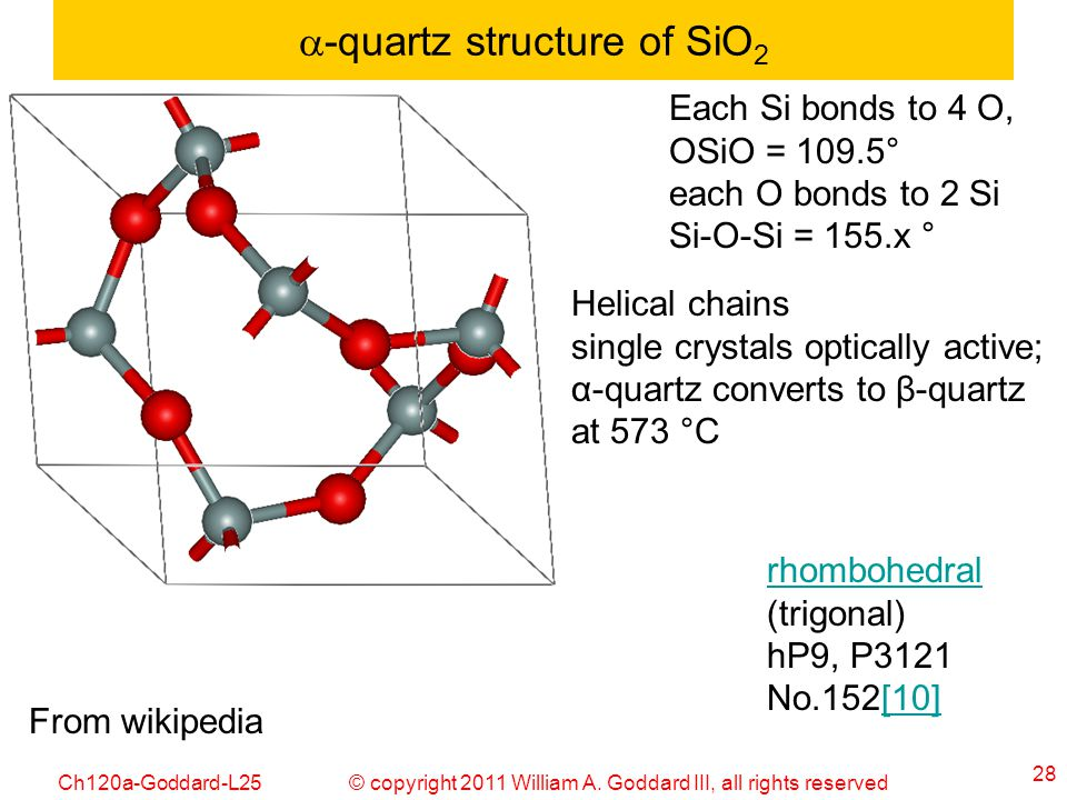 a-quartz structure of SiO2