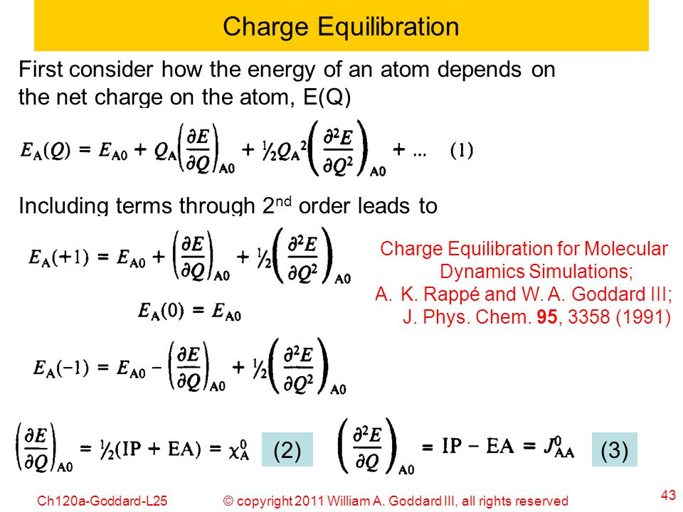 Charge Equilibration First consider how the energy of an atom depends on the net charge on the atom, E(Q)