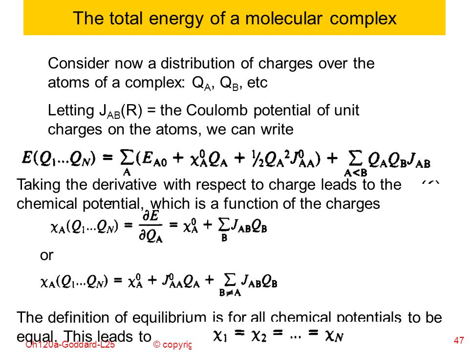 The total energy of a molecular complex